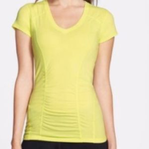 Zella by Nordstrom Ruched Seam V-Neck T-Shirt